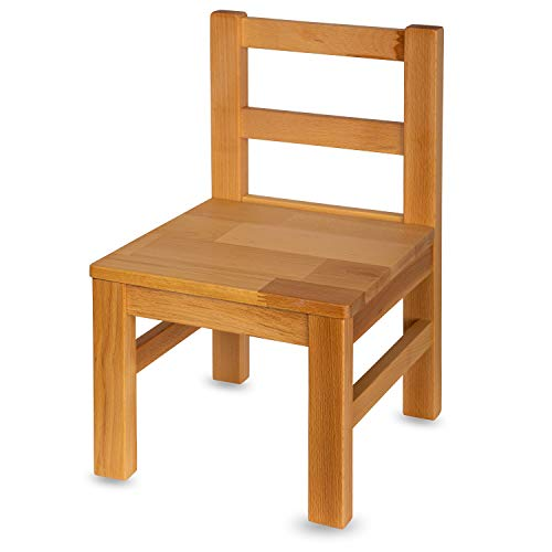 Staboos Kinderstuhl aus massivem Buchenholz - Bio geölte Vollholz Stühlchen - Montierter Stuhl für Kinderzimmer - Stuhl für Kinder ohne scharfe Kante - Natur Bio geölt