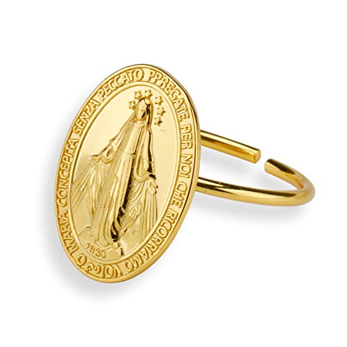 「silverKYASYA」シルバー925 18k gp 金 ゴールドコインリング 聖母マリア 指輪 奇跡のメダイ リング ゴールド 人気 お洒落