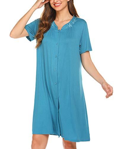 Ekouaer Womens Dusters and Housecoats Cotton Sleepshirt Soft NIghtshirt Peacock Blue