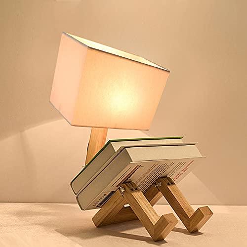 AUA Lampada da Comodino in Legno, Lampada da Tavolo Robot Creativo, Paralume in Tessuto E27, Altezza 62 cm, Lampada da scrivania per Camera da Letto, Studio, Camera dei Bambini