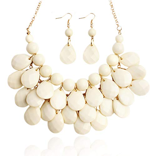 RIAH FASHION Chunky Acrylic Jewel Cluster Floating Bubble Statement Necklace - Teardrop Dangle Layered Bib Collar (Natural Ivory 2)