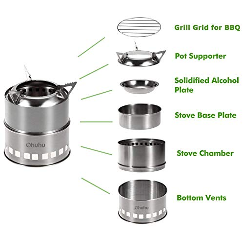 Camping Stove Ohuhu Stainless Steel Backpacking Stove Potable Wood Burning Stoves for Picnic BBQ Camp Hiking with Grill Grid