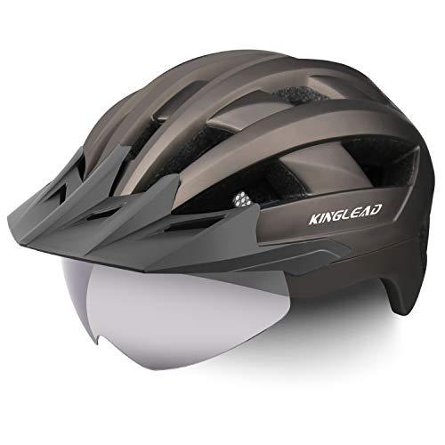 KINGLEAD Fahrradhelm mit Sicherheitslicht und Visier, CE-zertifiziertem, unisexgeschütztem Fahrradhelm für das Radfahren im Freien. Sicherheitssuperleichter, Verstellbarer Fahrradhelm (Silber)