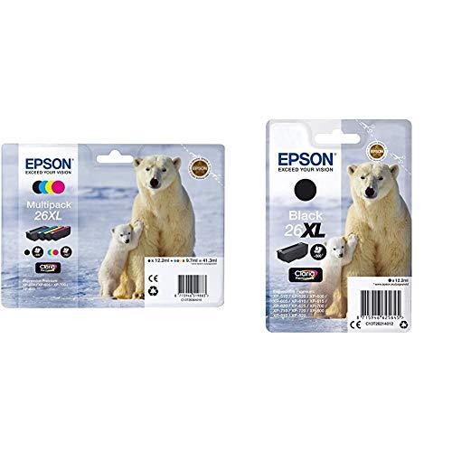 Epson Tinta Epson Multipack XL 26 (Set De 4) válido + Premium 26XL - Cartucho de Tinta, Negro,