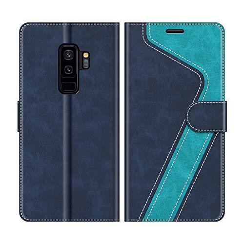 MOBESV Handyhülle für Samsung Galaxy S9 Plus Hülle Leder, Samsung Galaxy S9 Plus Klapphülle Handytasche Case für Samsung Galaxy S9 Plus Handy Hüllen, Modisch Blau