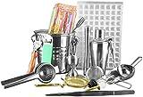 Hammer Bastidor de 18 piezas ciencia de la mezcla camarero Kit - Cocktail Shaker barra de establecimiento del sistema de herramienta for el hogar y Bartending Profesional - Martini Shaker y bebidas de