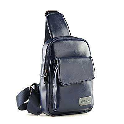 Manzouy Neuf Hommes Cuir Messager Épaule Crossbody Fronde Chatte Sac banane Sac de taille Poitrine Sacs