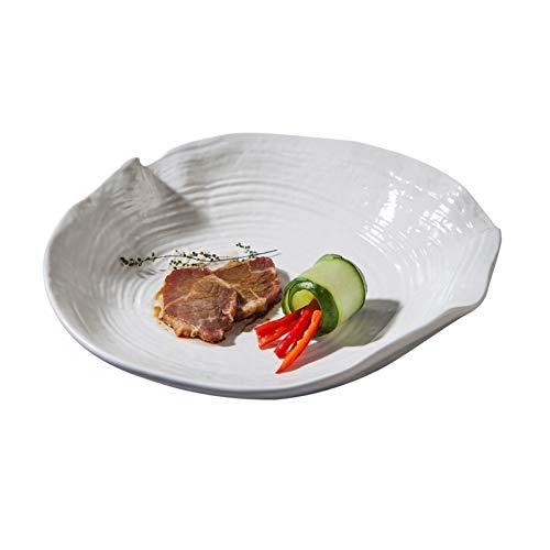 H/A Vajilla creativa japonesa y coreana especializada hoteles para restaurantes y aperitivos, platos tontos de cerámica blanca y negra, Tazón superficial TOM-EU (color: blanco, tamaño: 8 pulgadas)