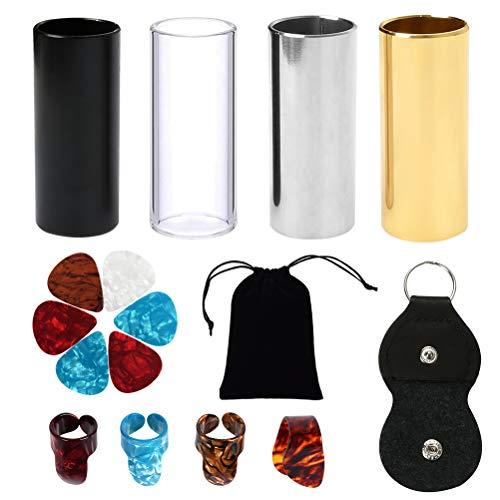 BUYGOO 4PCS Medium Gitarre Slider Set (3 Farben Edelstahl Slider, 1 Glas Slider), 6PCS Plektren (0,46mm) und 4PCS Kunststoff Daumen & Finger Picks für Gitarre, Bass