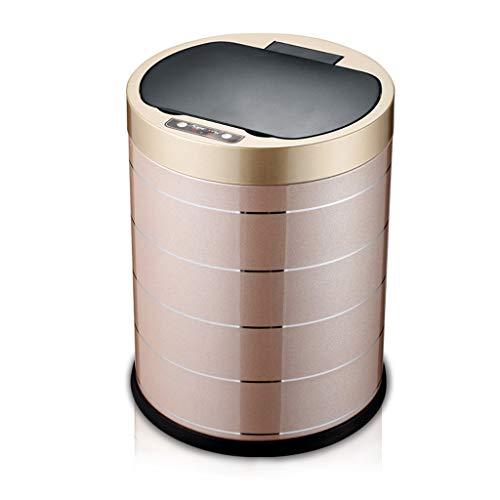 Intelligente Automatische Induktions-Mülleimer-Ausgangswohnzimmer-Schlafzimmer-Badezimmer In-Band-Fass Wasserdichtes Umweltfreundliches Innenrecycling Bins-10L ( Farbe : Champagne gold , größe : 10L )