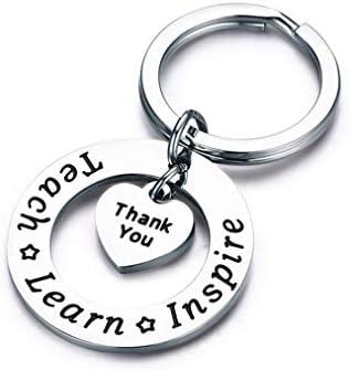 Sevenfly Teach Learn Inspire Heart Thank You Keychain Teacher Appreciation Gift Graduation Gift product image
