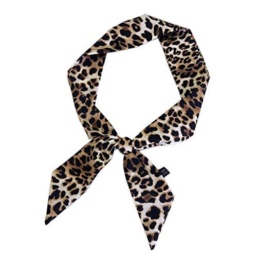 Piel de leopardo pequeño pañuelo de seda femeninas atadas y Bolsas pelo de la cabeza de la mano multifunción cinta pañuelos para las mujeres