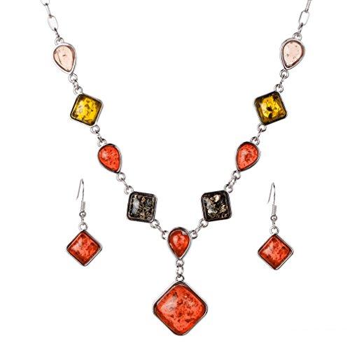 YAZILIND Conjunto de joyería de plata vintage con ámbar y aleación para mujer