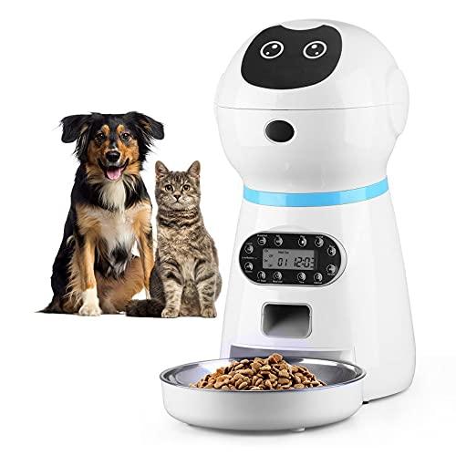 自動給餌器 猫 中小型犬用 自動餌やり機 タイマー式定量式 1日4食 3.5L 大容量 録音可 2Way給電 自己保護機能 取り外し可 お手入れ簡単 日本語対応説明書付き ステンレス製トレイ付き (ロボット)