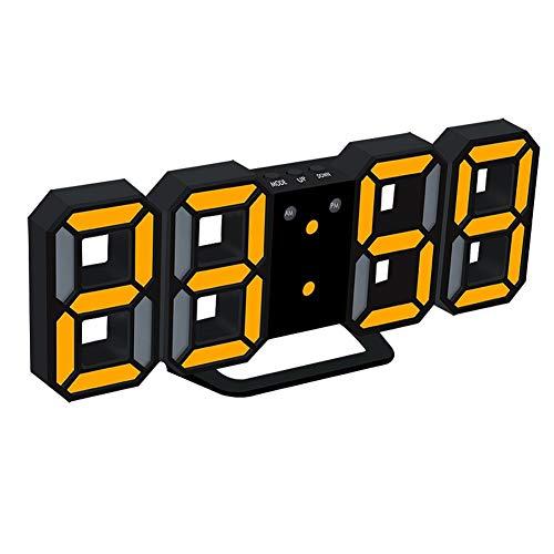 3D digitale wekker, digitale multifunctionele wekker met 12/24-uurs weergave, 3 soorten automatische helderheid, wandstereowand elektronische klok Blackyellow