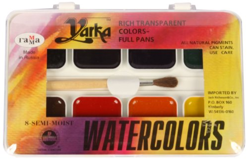 Jack Richeson 38008 Yarka Student Semi Moist Watercolor, Set of 8