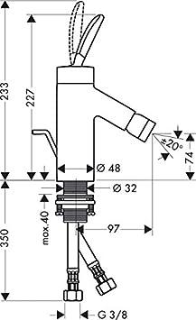 10200000 Hansgrohe Axor Starck Classic Mezclador Monomando para bid/é con desag/üe autom/ático Color Cromado