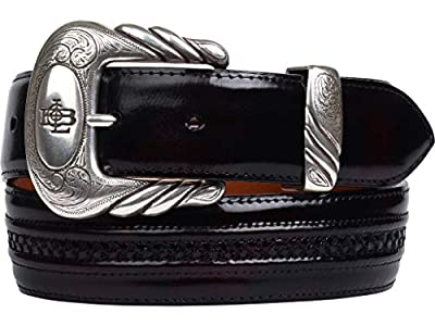 Lucchese Mens W2211H Hobby Stich Goat Leather Casual Western Belt, Black Cherry