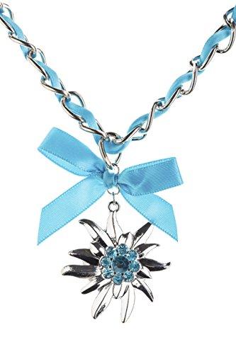 Trachtenkette Edelweiss mit Satinband Schleife und eleganten Gliedern Halskette für Dirndl und Lederhose (Türkis)