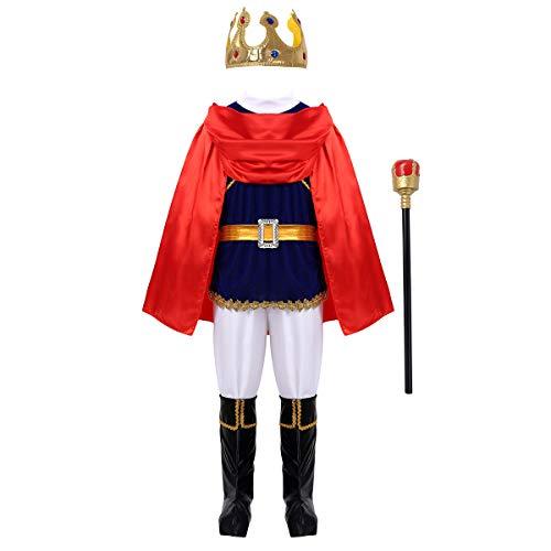 inhzoy Costume Carnevale da Principe Bambino Ragazzi Set Costume da Re Medievale Deluxe 7PCs Corona Manganello Cintura Capo Calzini Top Pantaloni Vestito Vintage Elegante Blu 4-5 Anni