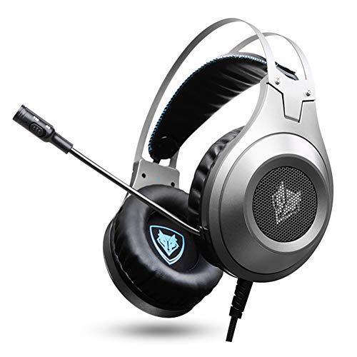 MeterMall CE N2D PS4 Headset Bass Casque Gaming Hoofdtelefoon Hoofdtelefoons met Microfoon Mic voor PC Gamer/Nintendo Switch/Nieuwe Xbox one/Telefoon Zilver