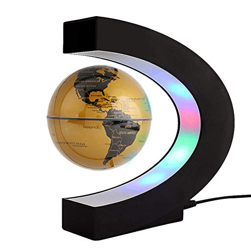 Magnetische Schweben Globus C-Form mit Dem Integrierten LED-Licht, Interaktiver Globe Die 3 Zoll Kugel Weltkarte Geschenk, Ideal für Unterricht und Büro Zuhause Dekoration