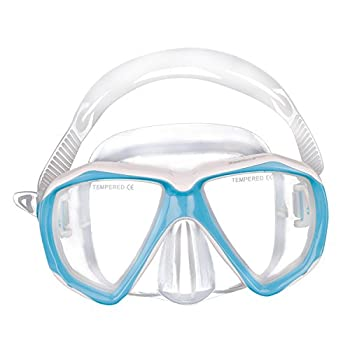Kids Junior Boy Girl Diving Masks Silicone Anti Fog Anti Leak Dive Swimming Goggles Tempered Glass Lens Watertight Wide Clear View Glasses Scuba Diving Snorkel Mask for Child Age 5-12Y  Blue