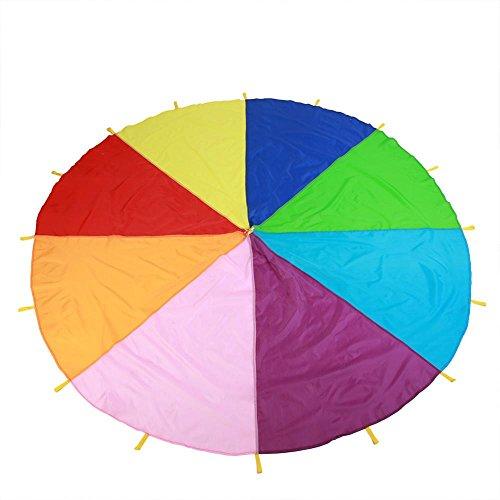 Fallschirm Spielzeug spielen Regenbogen-Fallschirm mit Griffen Kinder Zelt kooperative Spiele Geburtstagsgeschenk für Kinder Jungen Mädchen(4M)