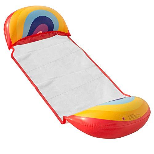 LEESITEC Sillón hinchable para piscina para adultos, para exteriores, para exteriores, con forma de arco iris, para colgar