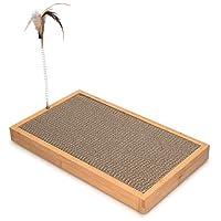 navaris cartone tiragraffi per gatti xxl - graffiatoio gioco e sdraio per gatti grandi e piccoli - pannello bambù con cartone ondulato e piuma 43x25x4cm