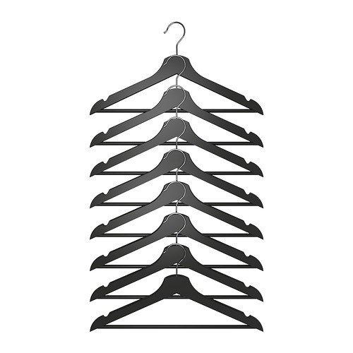Ikea IKE-202.385.34 Holzkleiderbügel Bumerang 8-er Pack Bügel 43 cm breit aus massivem Laub-Holz-SCHWARZ