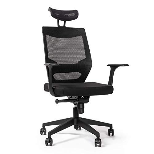 RIGHT TECHNOLOGY Ergo Classic Schreibtischstuhl, Drehstuhl hat Verstellbarer Lordosenstütze, Kopfstütze und Armlehne, Höhenverstellung und Wippfunktion, Rückenschonend, Bürostuhl bis 150kg/330LB