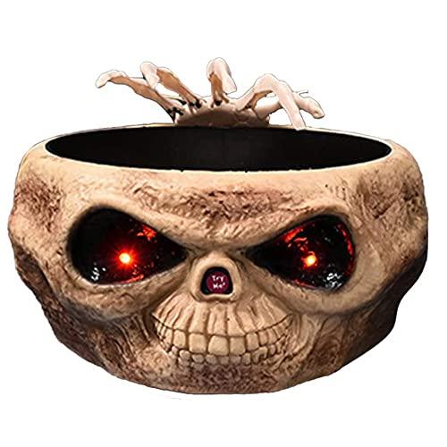 HuaDa Skeleton Fruit Placa de Halloween Control de Prensa Inducción Fantasma Fruit Fruit Candy Plate Candy Bowl Toy Electric Toy Skull Oye Shine (Color : B)