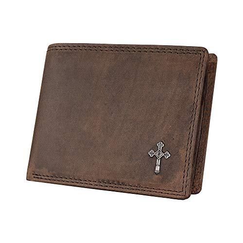 Hodalump Echt-Leder Geldbörse • Geldbeutel für Damen und Herren mit RFID-Schutz in Braun • Portemonnaie/Brieftasche inkl Geschenkverpackung • Portmonee mit Münzfach und Einer Prägung