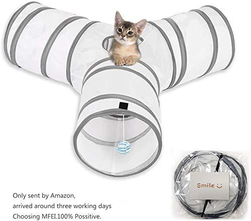 No logo Coniglio Giocattoli, Cat Tunnel 3 Way Cat Tunnel Coniglio Giocattoli Piega Pieghevole Tubo Giocattolo Tunnel for Gatti Conigli, Cani, Animali Domestici
