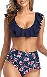 jfan - bikini da donna con volant e scollo a u, a vita alta, con scollo a u, sexy, con stampa floreale blu l