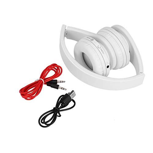 Handige Opvouwbare Draadloze Stereo + Headset Combo met Microfoon Voor iPhone Mobiel PC Laptop 3,5 mm Audio Jackwhite