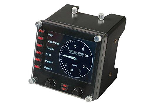 """Logitech G Saitek Pro Flight Pannello di Controllo Per Simulazioni di Volo Professionale Gaming, Display a Colori LCD da 3,5"""", 15 Tipi di Indicatori, Connessione USB, Espandibile, PC - Nero"""