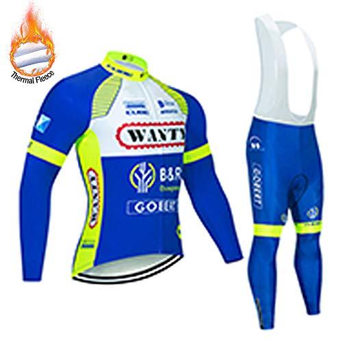 MUBODO Winterfietskleding met lange mouwen voor heren, ademend fietsshirt en broek voor mountainbike