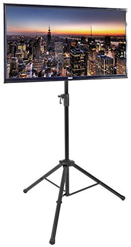 VIVO Black Tripod 32 to 55 inch LCD LED Flat Screen TV Display Floor Stand | Portable Height Adjustable Mount (STAND-TV55T)
