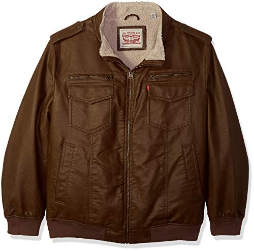 Levi's Men's Vintage Deer Faux Leather Aviator Bomber (Regular and Big & Tall Sizes), Earth, Small