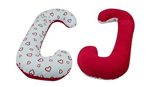 """cuscino allattamento gravidanza minky-cotone,post-parto,multiuso,sfoderabile """"C"""" (motivo: cuori rossi - rosso)"""