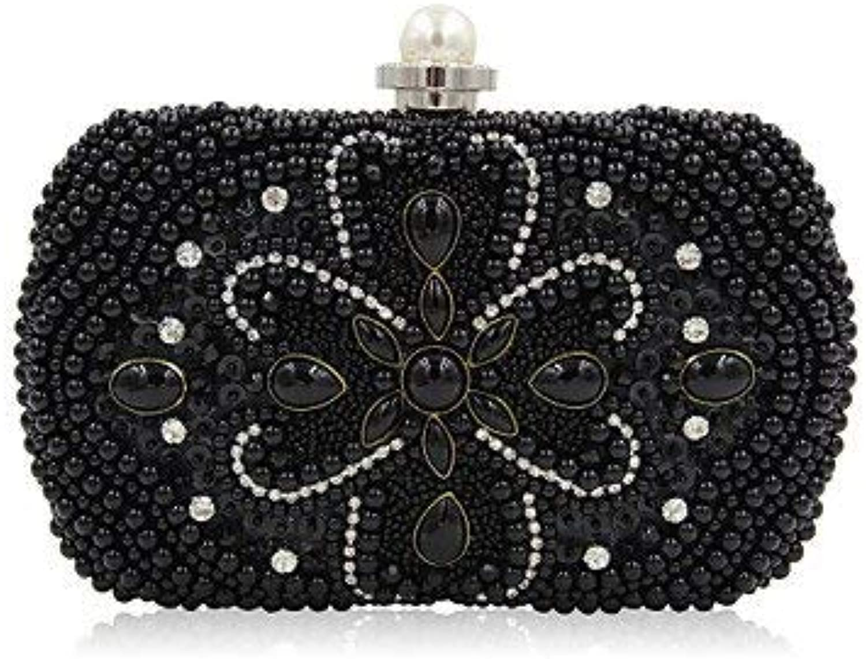 Ladies Handbag Woman Fashion Luxury HighGrade Imitation Pearl Evening Bag (color   Black)