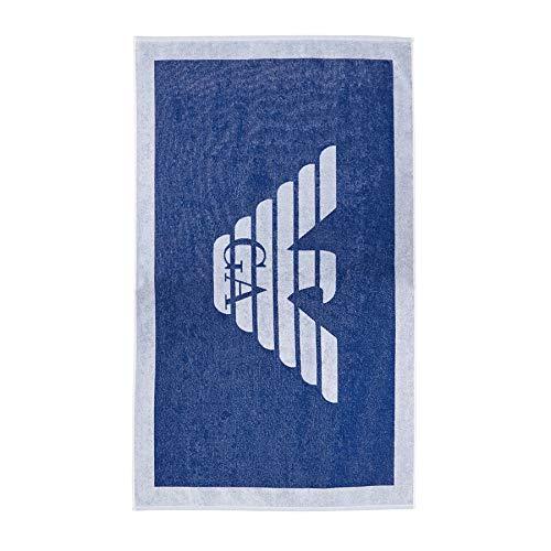 Emporio Armani Swimwear Herren Towel Beachwear POP Contrast Bademantel, Blau (Cobalto 04433), Medium (Herstellergröße: TU)