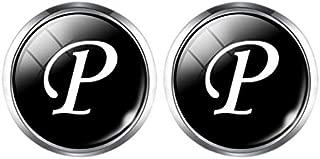 Alphabet Cufflinks Silver Color Letter Cuff Button For Male Gentleman Shirt Wedding 2Pcs Color P