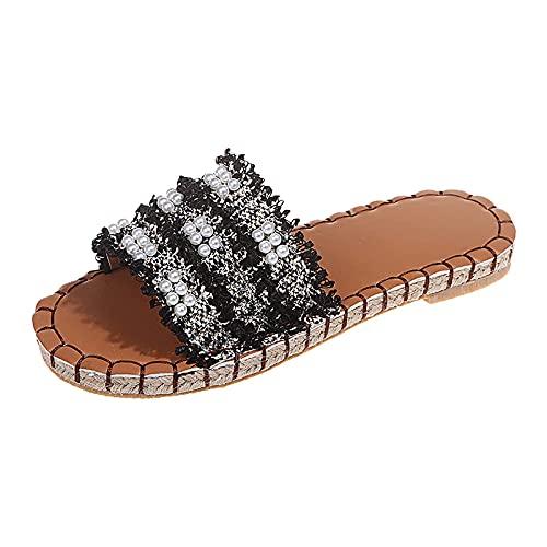 GANE Verano para Mujer Zapatillas de Perlas Casuales Sandalias de Plataforma para Mujer Diapositivas de Moda Diamante Deslizadores Mulas adornadas Zapatillas sin Cordones Zapatos cómodos con Brillo