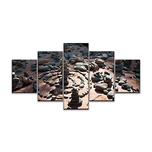 Skipvelo Rock Temples at Sedona Vortex Moody Digital Image of Stone Temples Wall Art Canvas Prints Pictures Paintings Artwork Home Decor Stretched and Framed - 5 Pieces