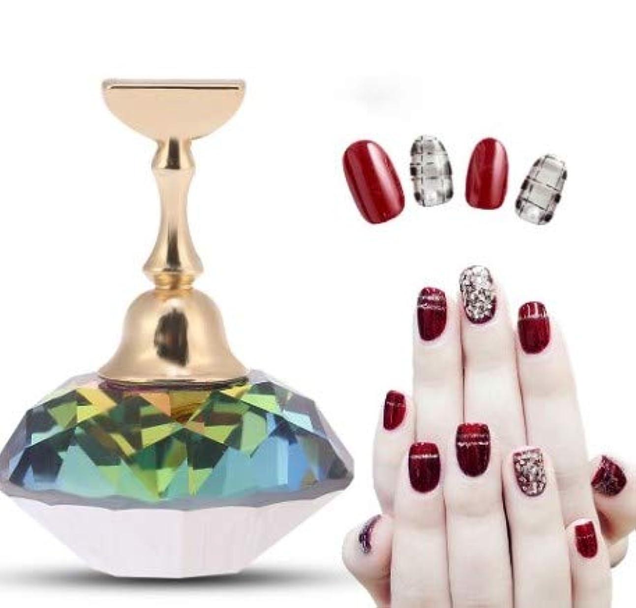 磁気ネイルチップ練習ネイルアートディスプレイスタンド(#3 Colorful Diamond Crystal)