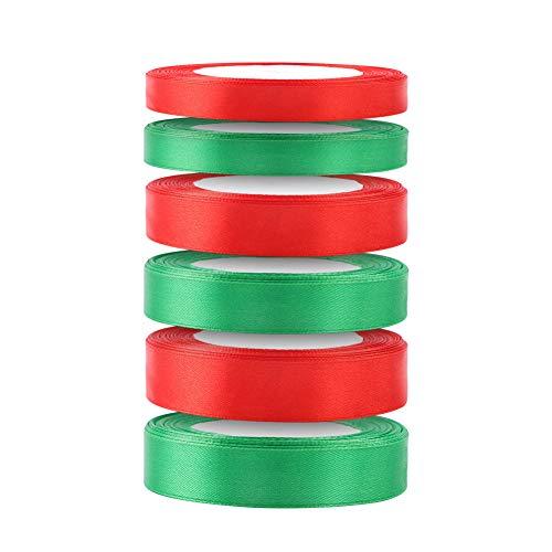6 Rollos 22Metro Cintas de Navidad Tela Decoración Manualidades Cintas Lazos Embalaje Regalo Cajas Flores Arbol Navidad Fiestas Casa Roja Verde navideña Ribbon Strap Trim Hair Band Costura