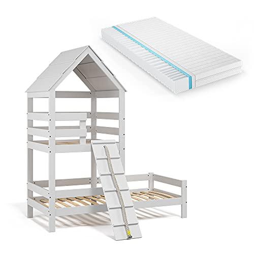 VitaliSpa Kinderbett Teddy 90x200cm Spielturm Bett Spielbett Jugendbett Hausbett inklusive Matratze weiß